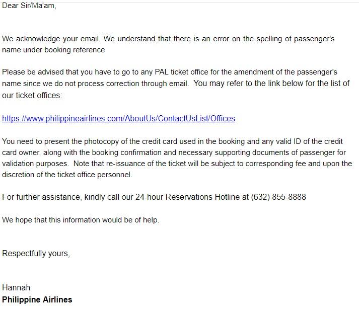 Philippine Airlines - изменить данные пассажира