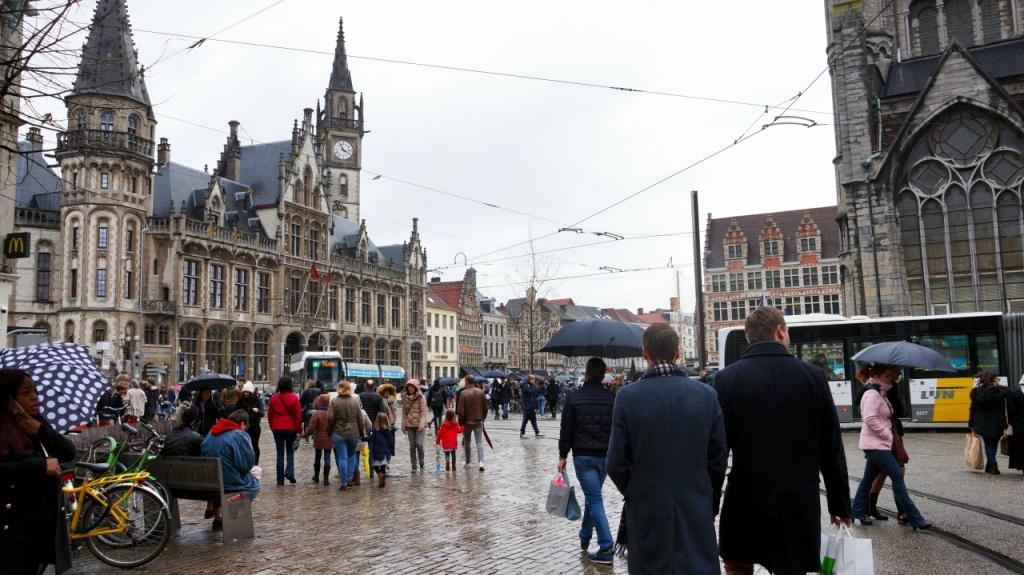 Гент, Бельгия: площадь Korenmarkt