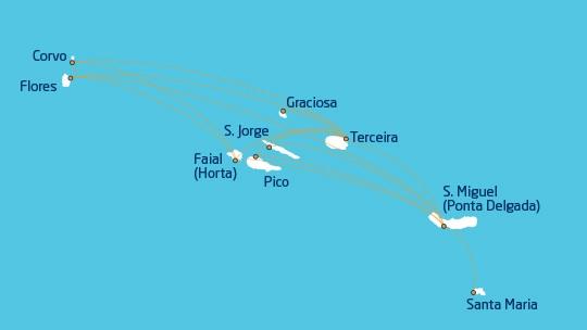 Карта полетов Azores Arlines