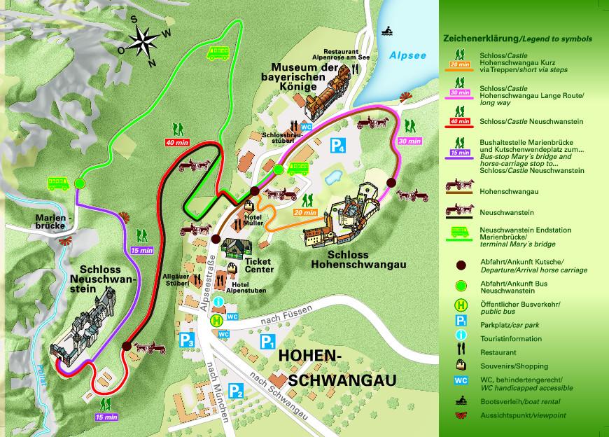 Карта маршрутов к Нойшванштайну