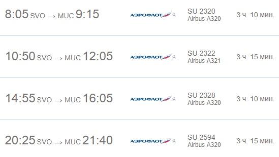 Расписание Аэрофлота в Мюнхен