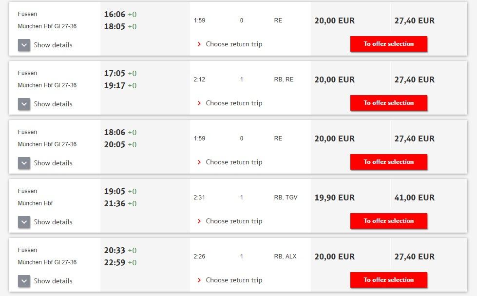 Расписание поездов до Фюссена