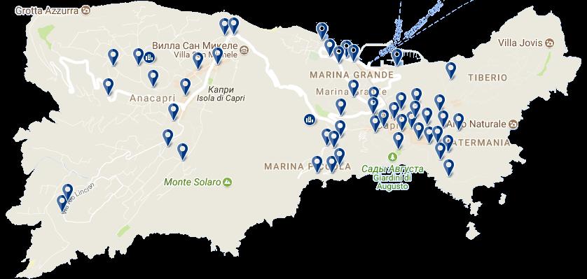Карта отелей Капри