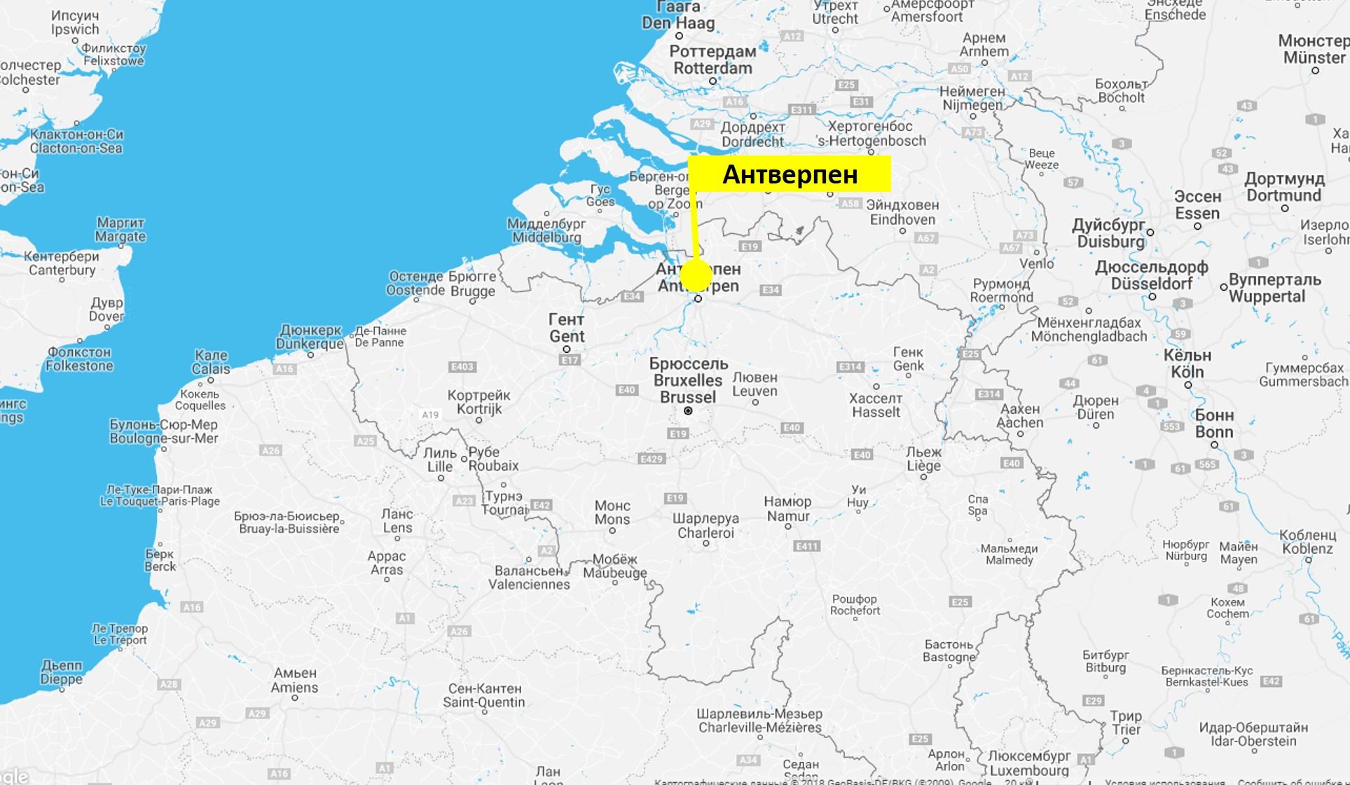 Антверпен на карте Бельгии