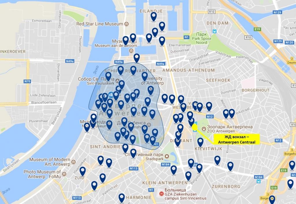 Карта отелей Антверпена