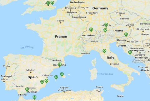 Карта полетов из аэропорта Антверпена