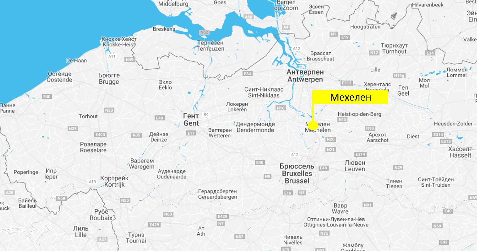 Мехелен на карте Бельгии