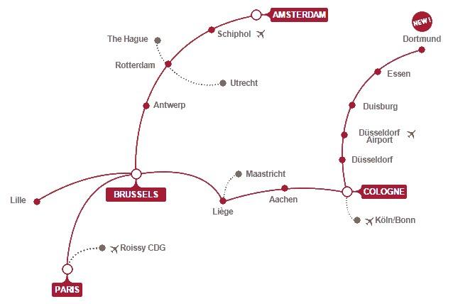 Карта поездов Thalys
