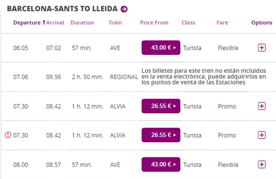 Поезда Барселона - Лерида