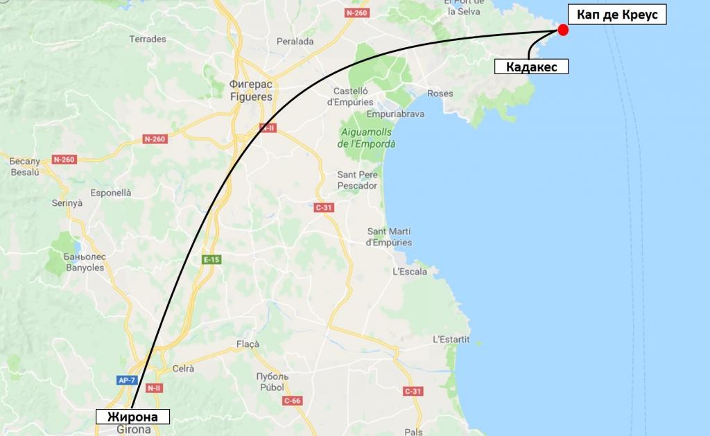 Мыс Кап де Креус на карте