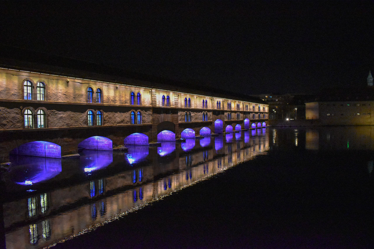 Страсбург ночью - плотина Вобана
