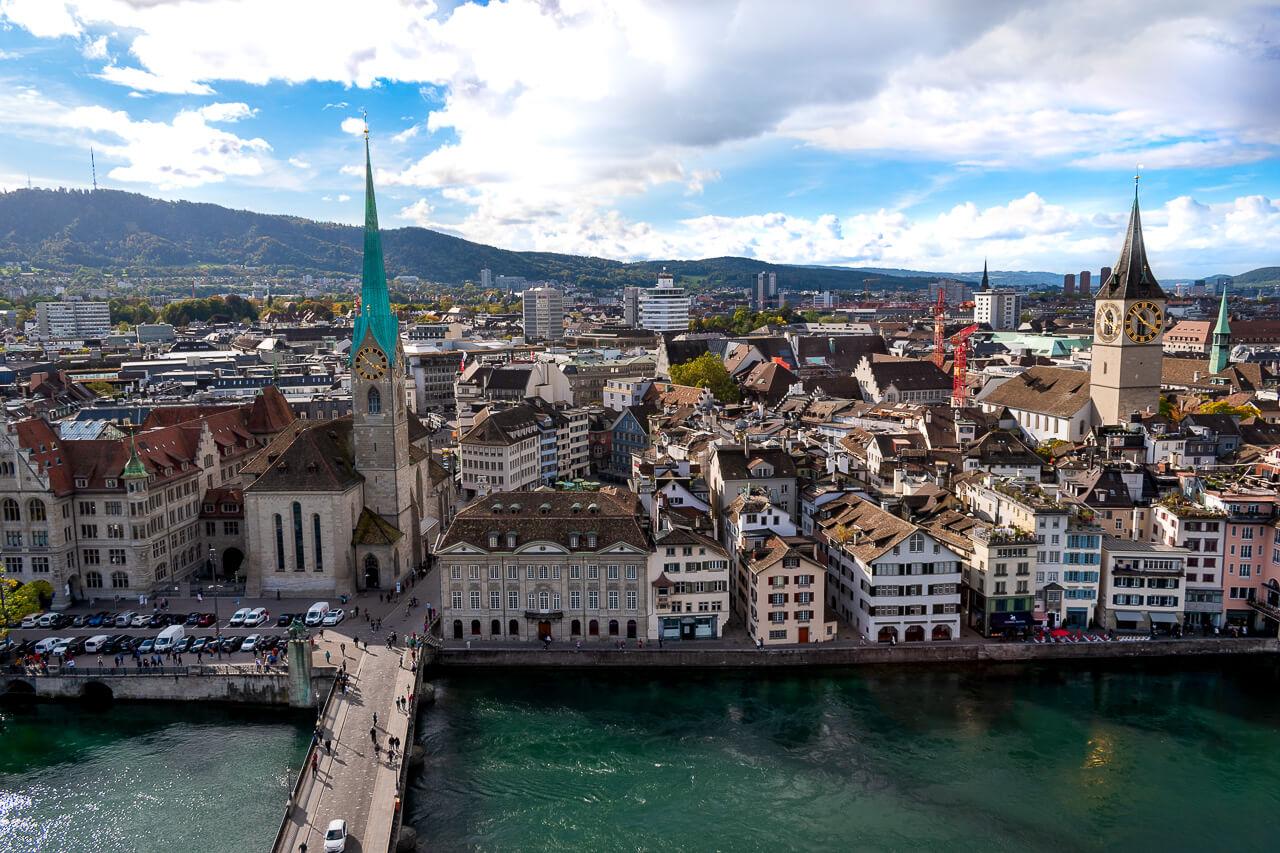 Цюрих, Швейцария: смотровая Гроссмюнстер