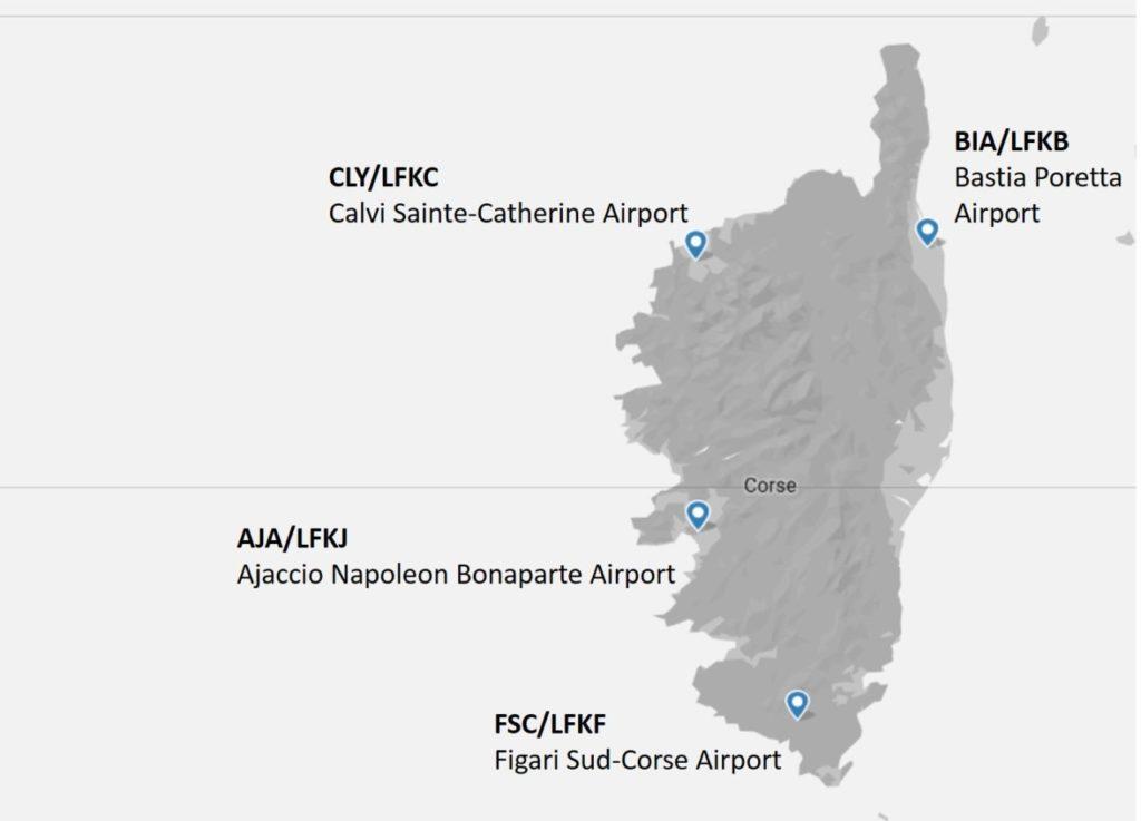 Аэропорты Корсики на карте