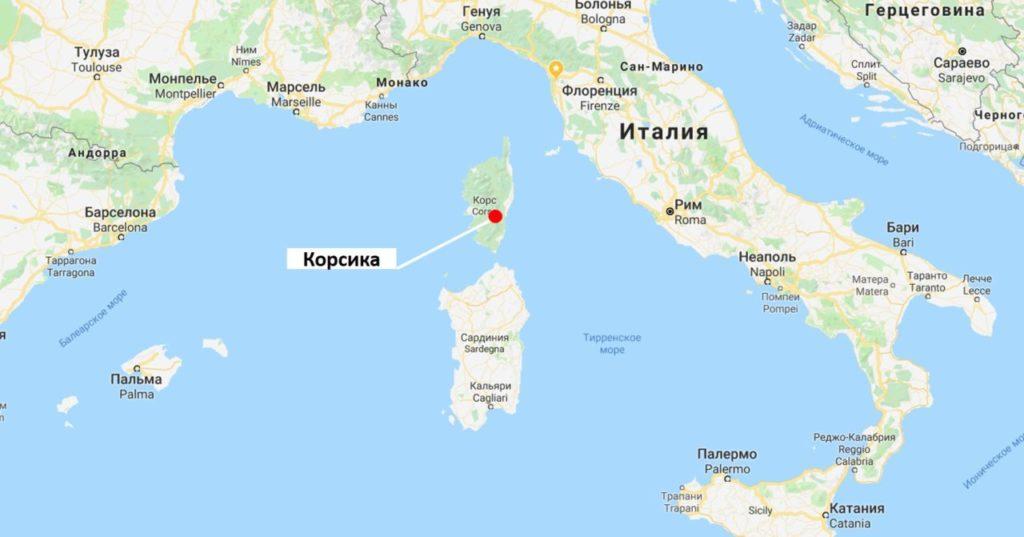 Остров Корсика на карте