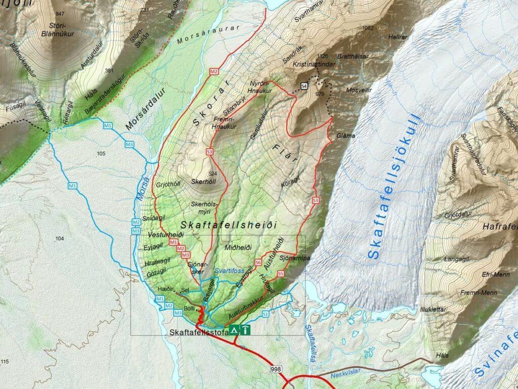 Карта хайкинг маршрутов ледник Скафтафетль