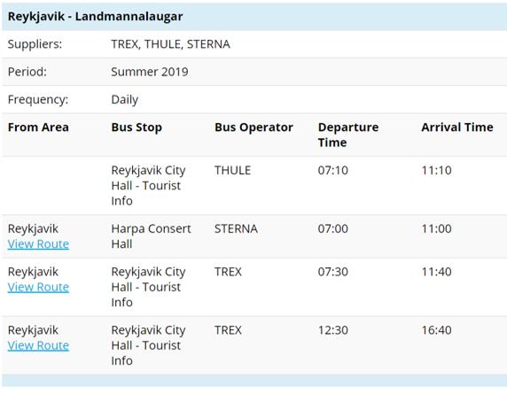 Ландманналаугар: расписание автобусов