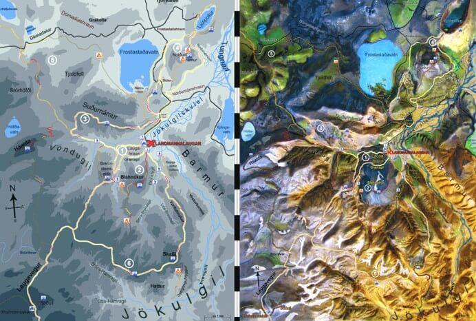 Ландманналаугар: карта хайкингов
