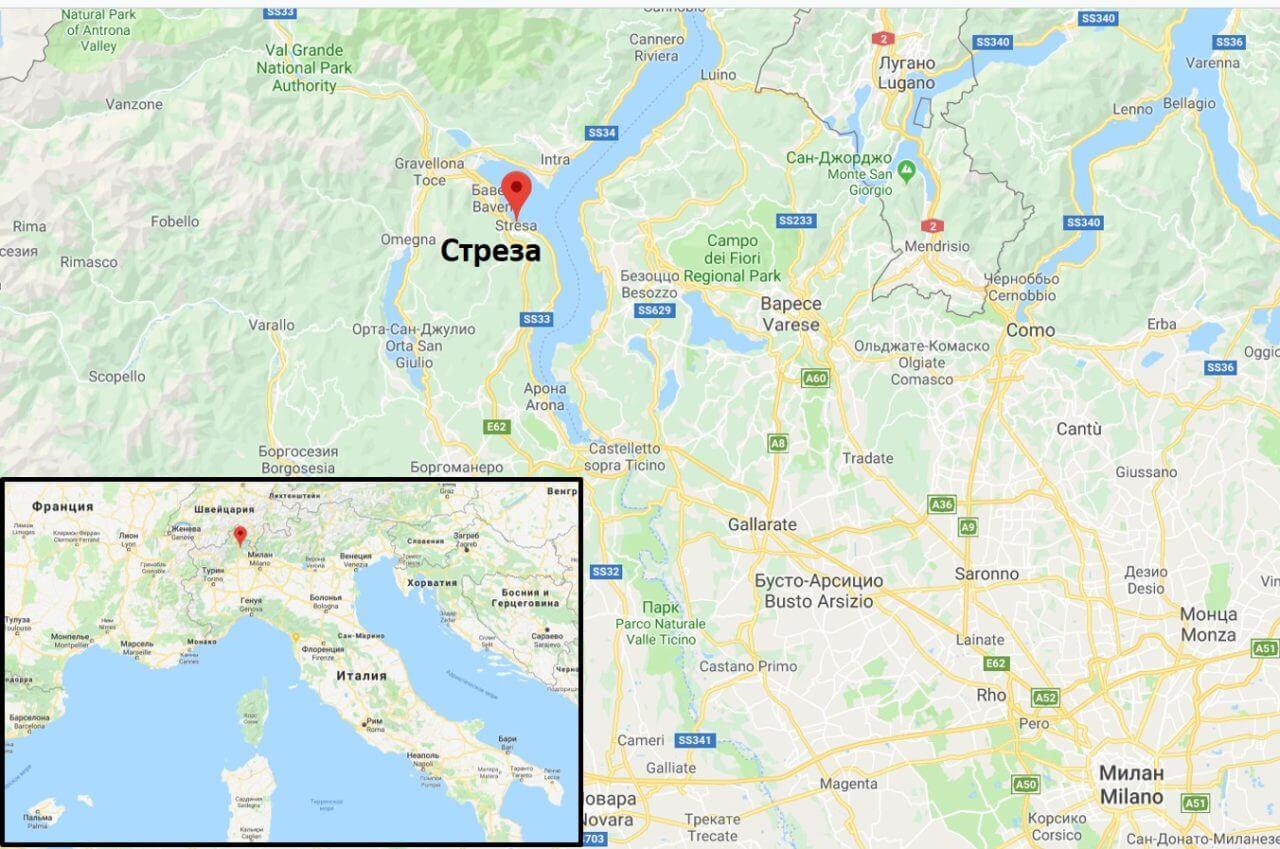 Стреза на карте Италии
