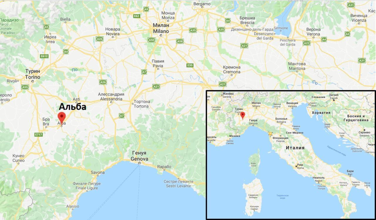 Альба на карте Италии