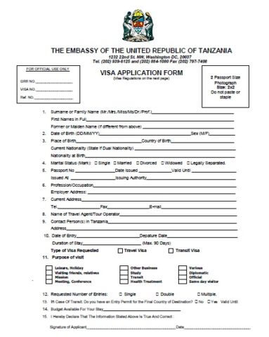 Visa Application Form for Zanzibar