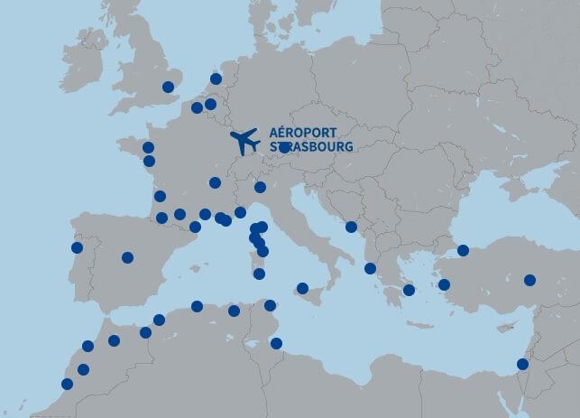 Аэропорт Страсбурга - карта полетов
