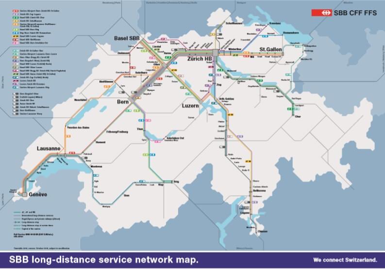 Карта направлений ЖД из Цюриха